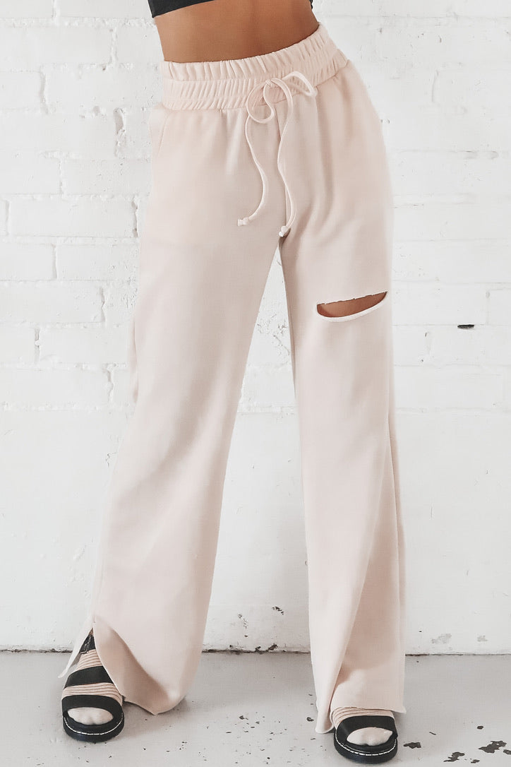 Rip Your Heart Out Blush Distressed Lounge Pants