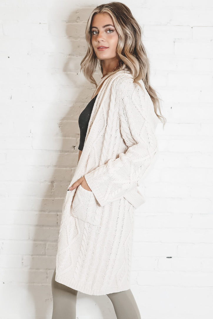Pucker Up Powder Beige Long Sleeve Cardigan