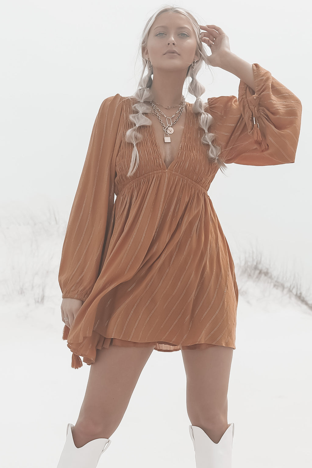 MINKPINK Wayward Smock Toffee Dress