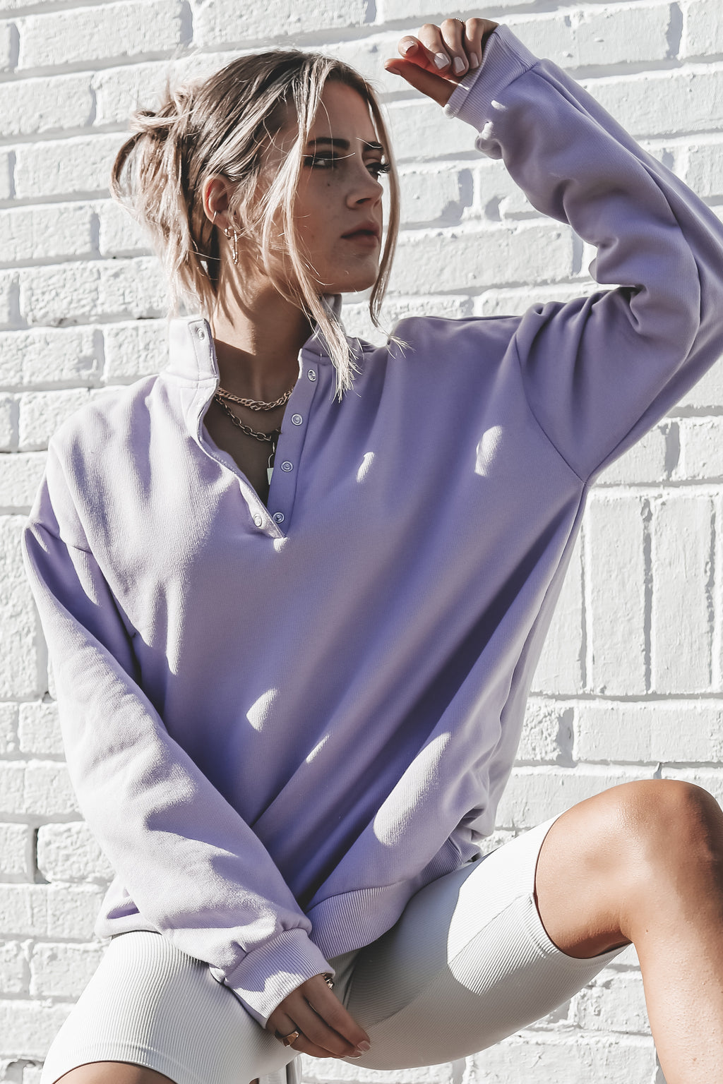 DAISY STREET Button Up Lilac Sweatshirt