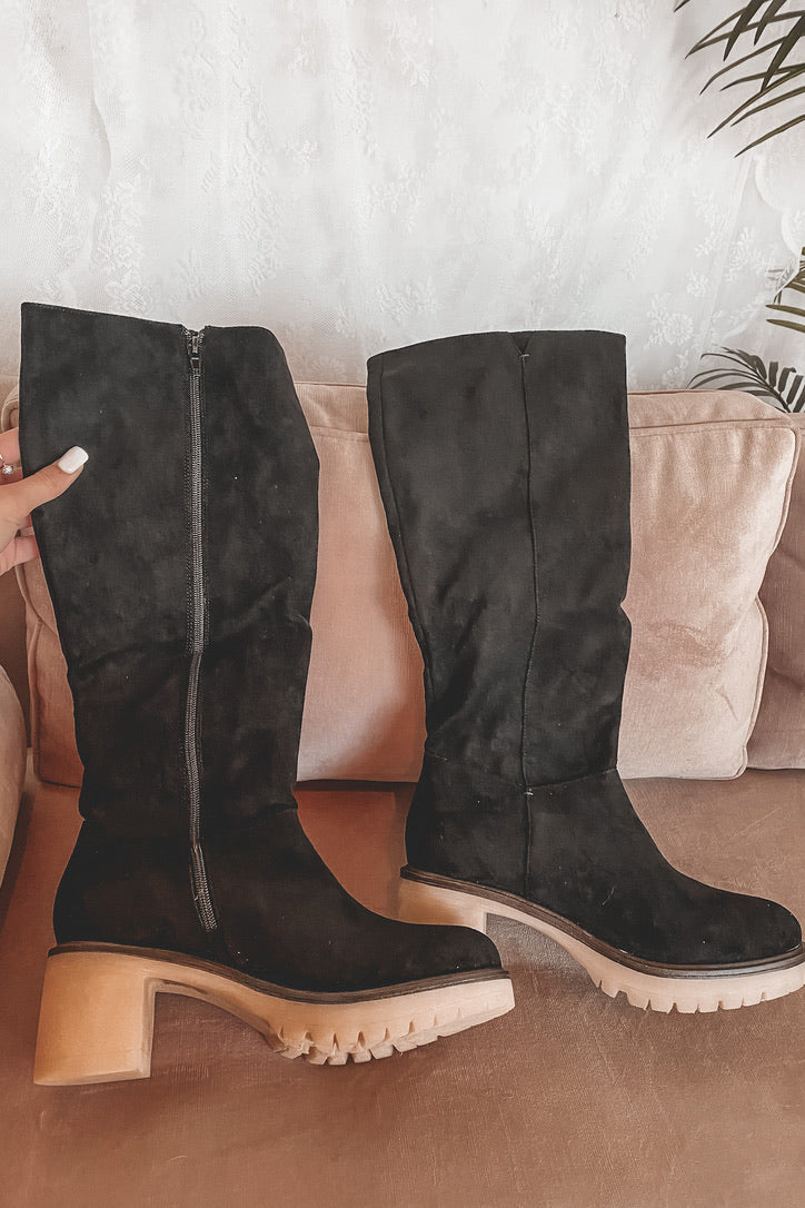 And Pose Black Suede Heel Boots