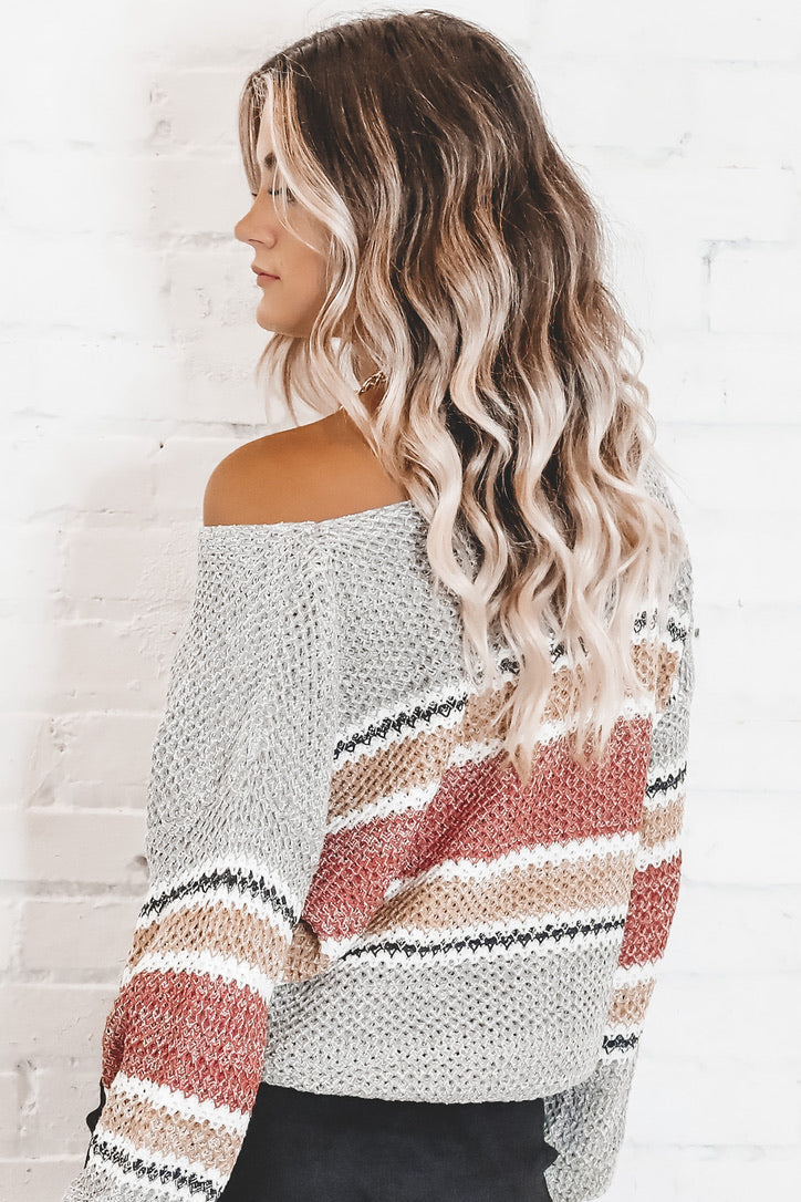 Spread Joy Gray Striped Sweater