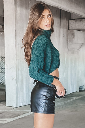 Took My Breath Away Green Crop Turtleneck