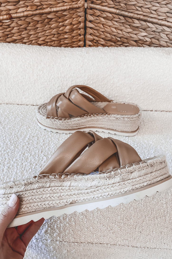 Up And Above Nude Braided Platforms