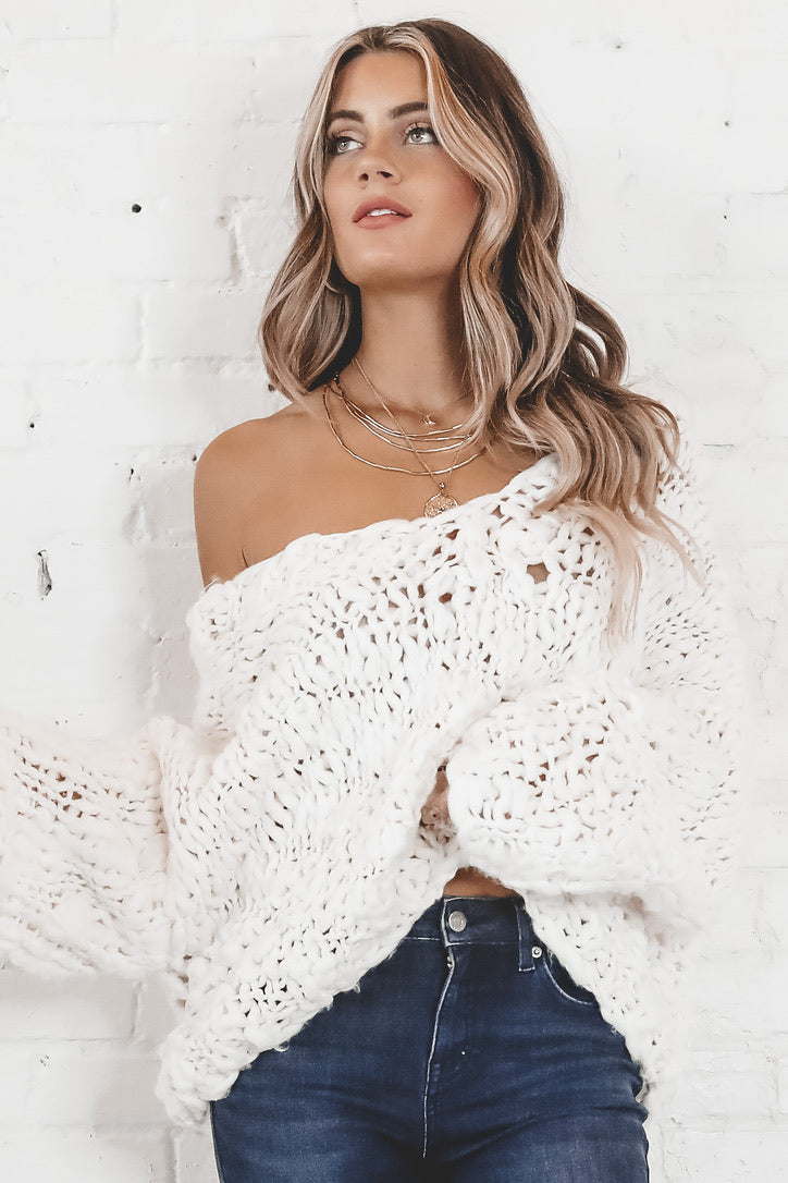 What To Do Ivory Knit Sweater