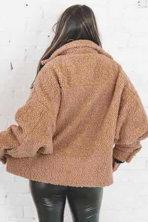 Hug Me Tighter Taupe Teddy Oversized Jacket