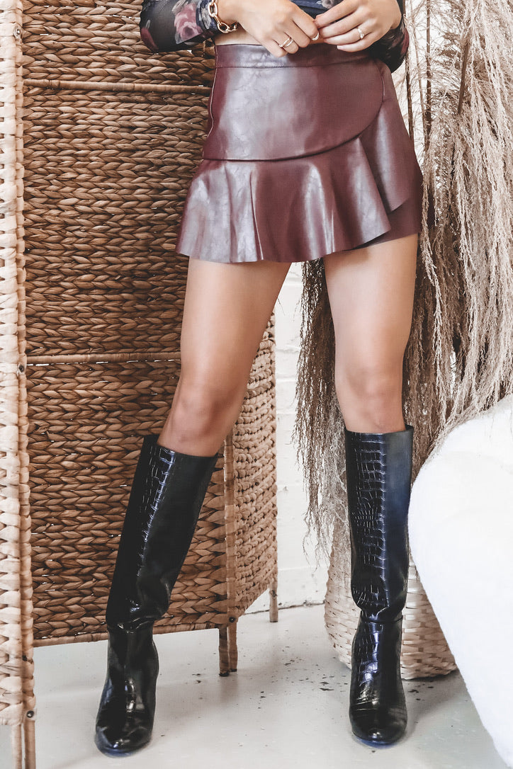 Pour Some Sugar On Me Wine Leather Skort