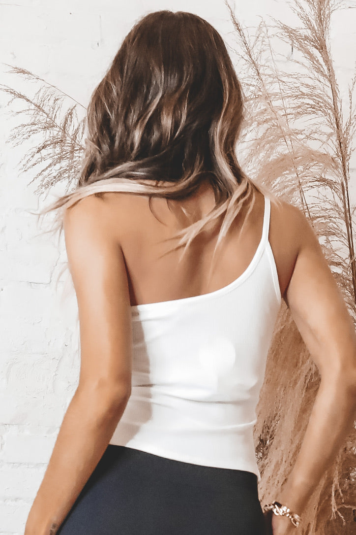 Fine With That White One Shoulder Top