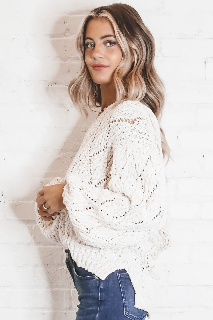Almond Milk Mocha Knit Pullover