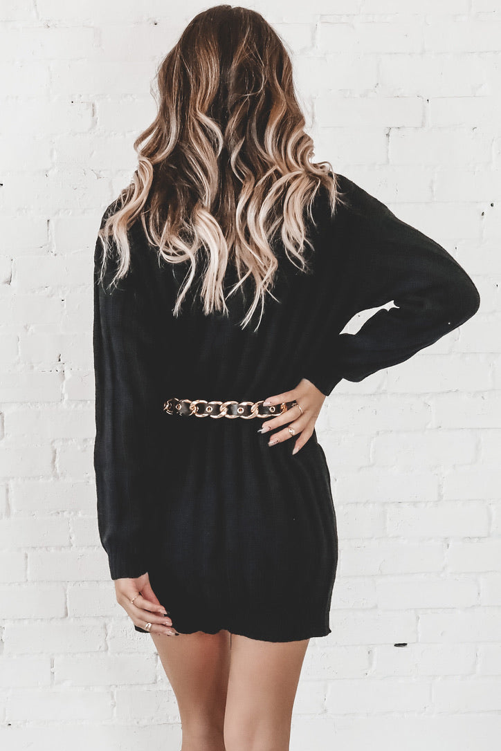 Knit To Be Black Turtleneck Sweater Dress