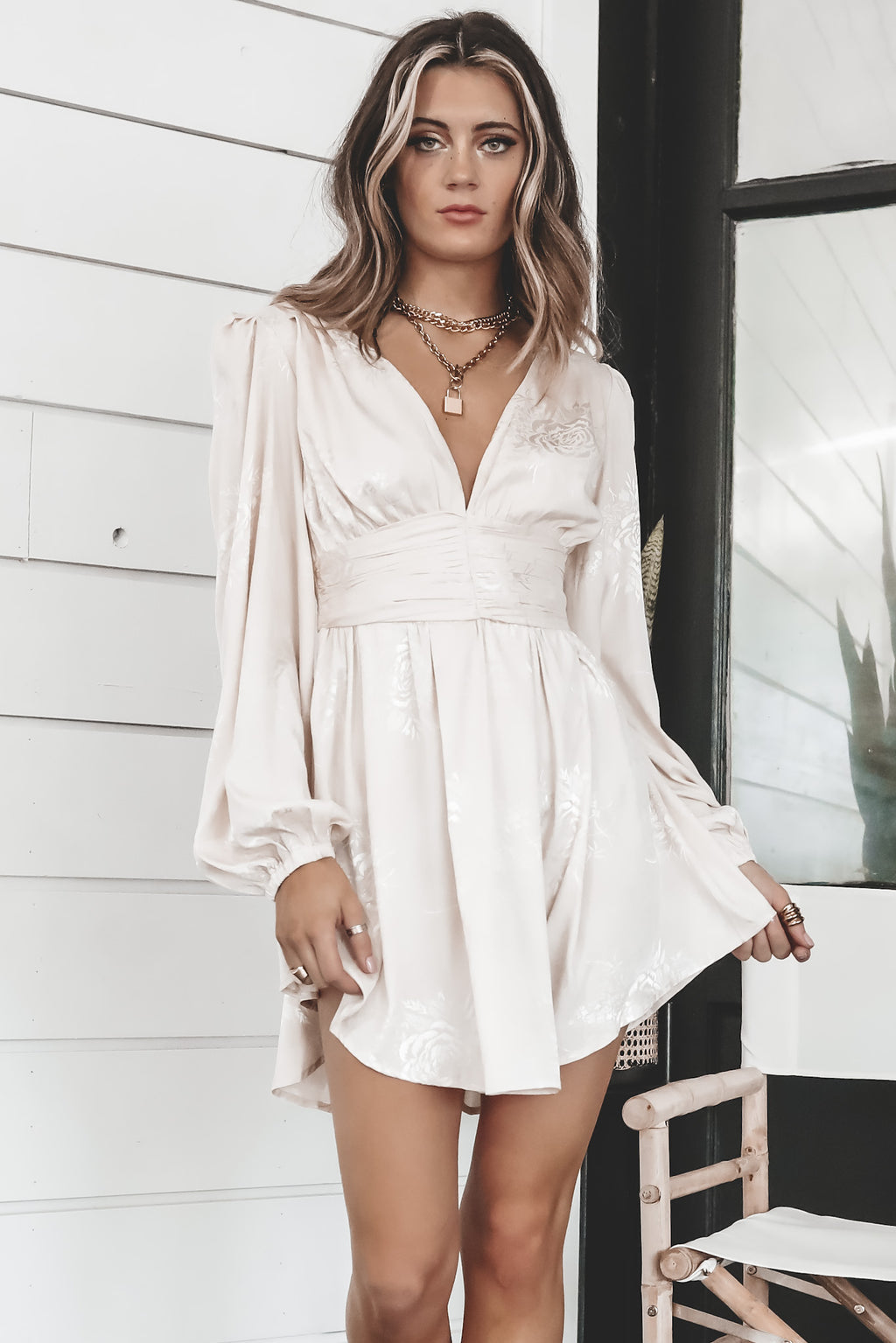 Catch The Bouquet Cream Shirring Dress