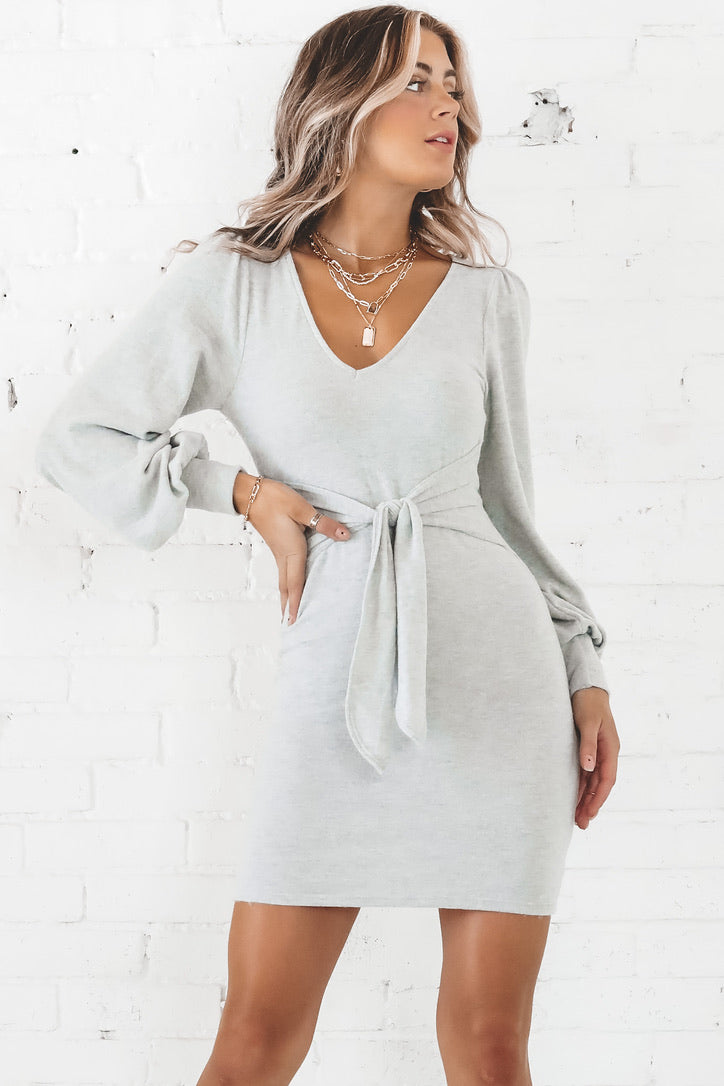 Good Going Heather Gray Long Sleeve Front Tie Dress