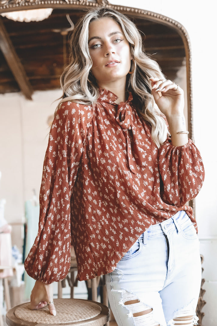 Love Me Like You Do Rust Floral Tie Neck Blouse
