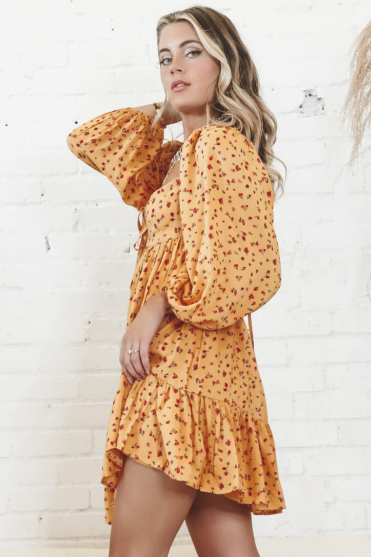 Fool Me Yellow Floral Dress
