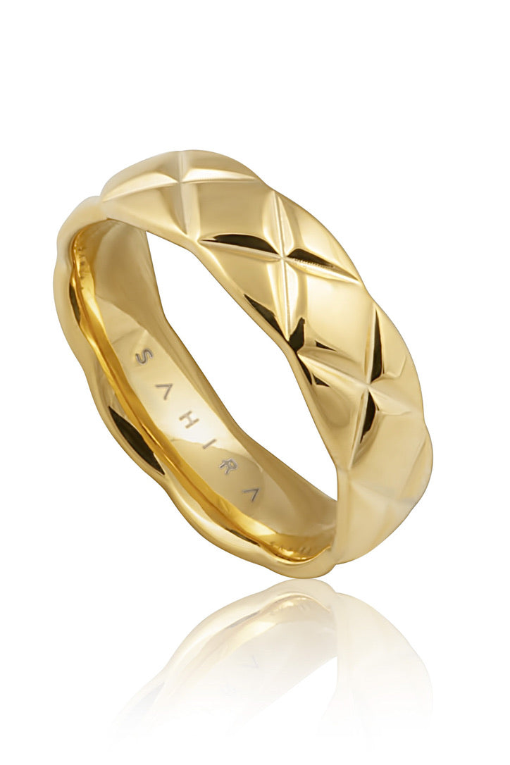 SAHIRA 18k Gold Quilted Ring