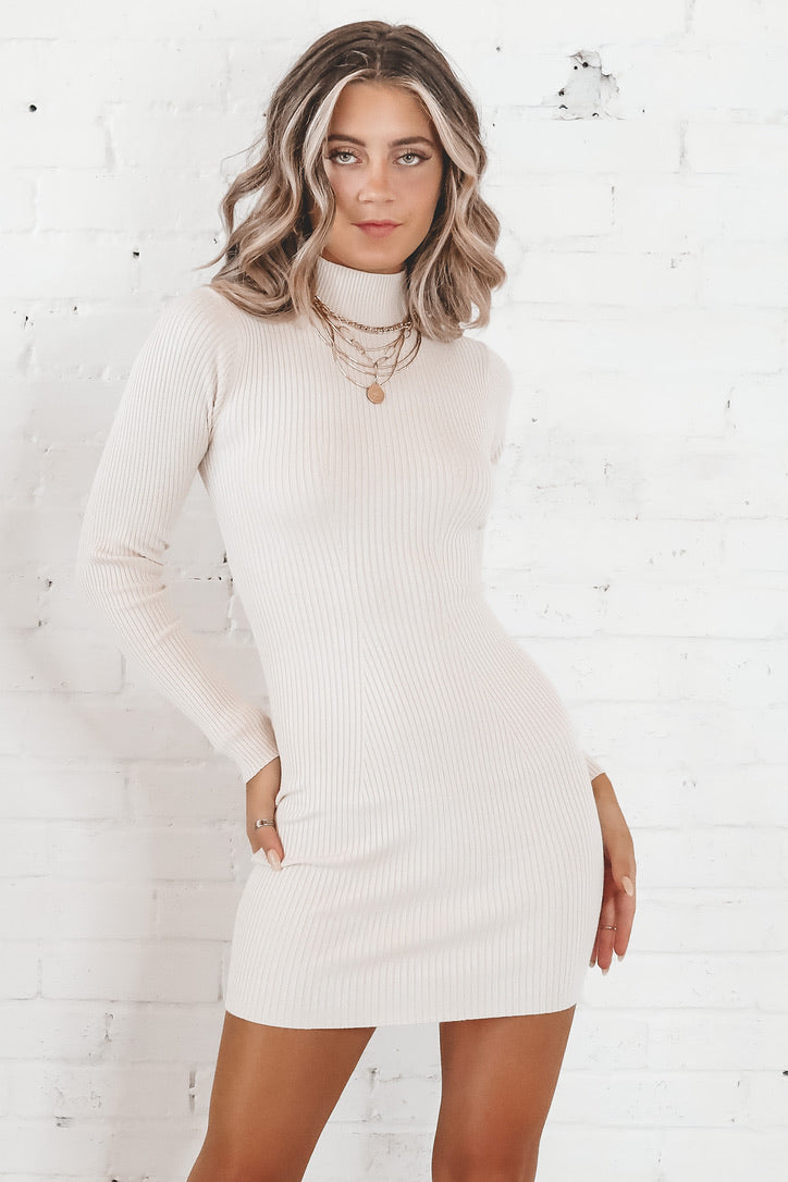 Once In A Blue Moon Cream Ribbed Mock Turtleneck Dress