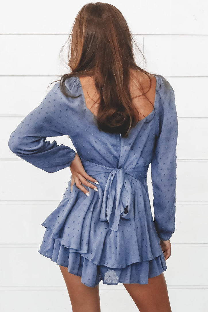 Listen To The Waves Navy Long Sleeve Romper