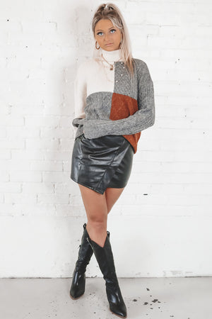 The Finer Things Charcoal Color Block Turtleneck Sweater