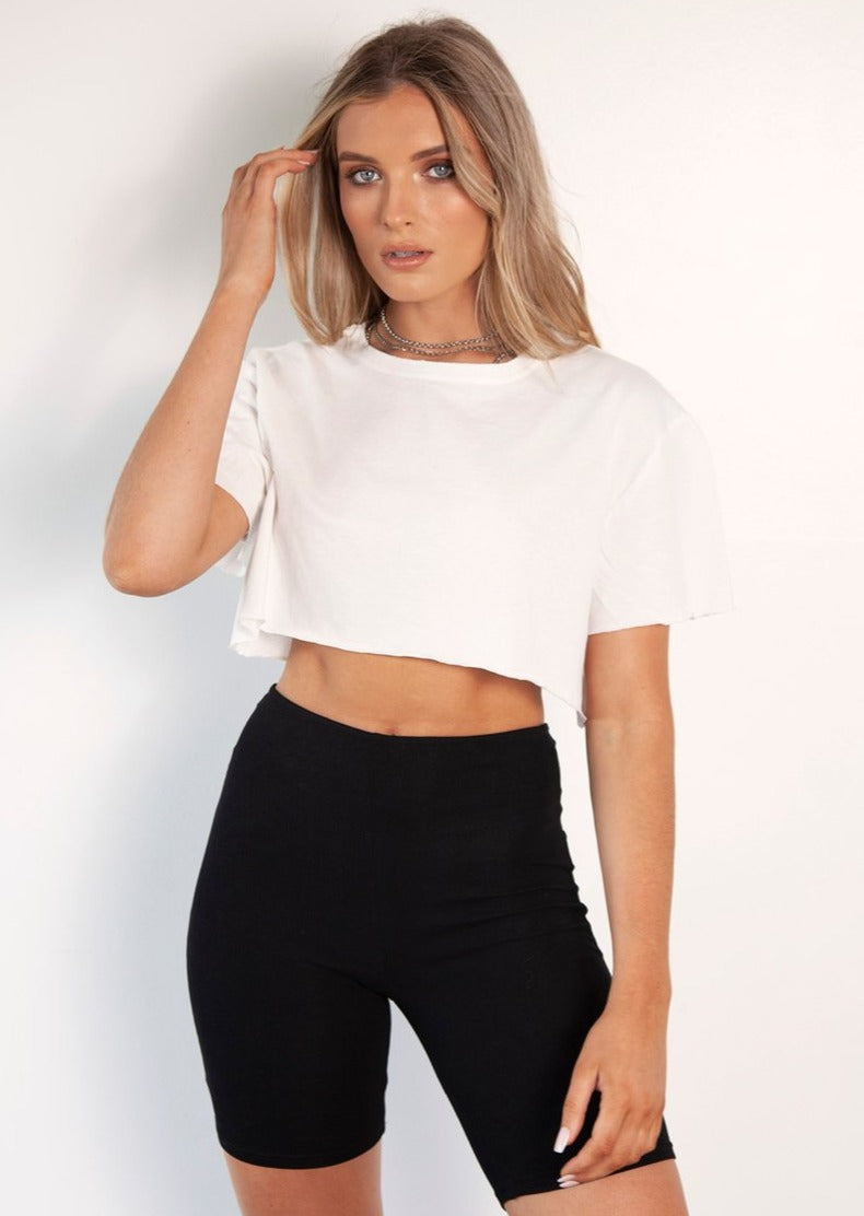 BAYSE Not Your Girlfriend White Crop Tee