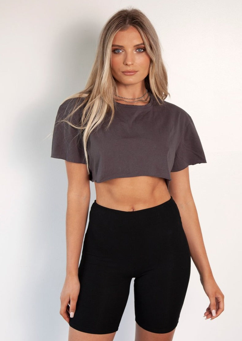 BAYSE Not Your Girlfriend Charcoal Crop Tee
