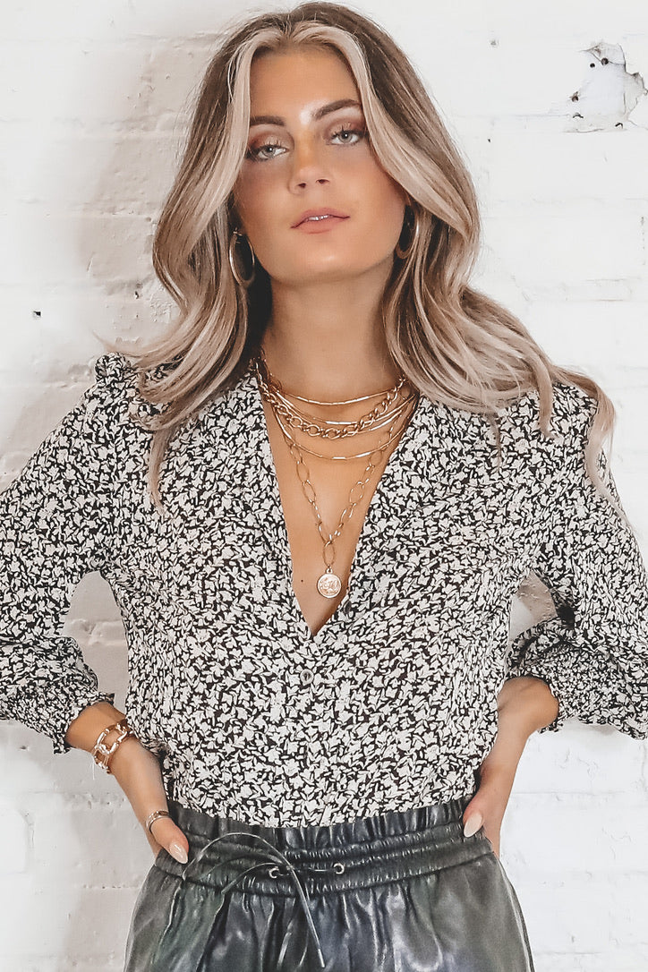 Feel The Love Black And Taupe Button Up Top