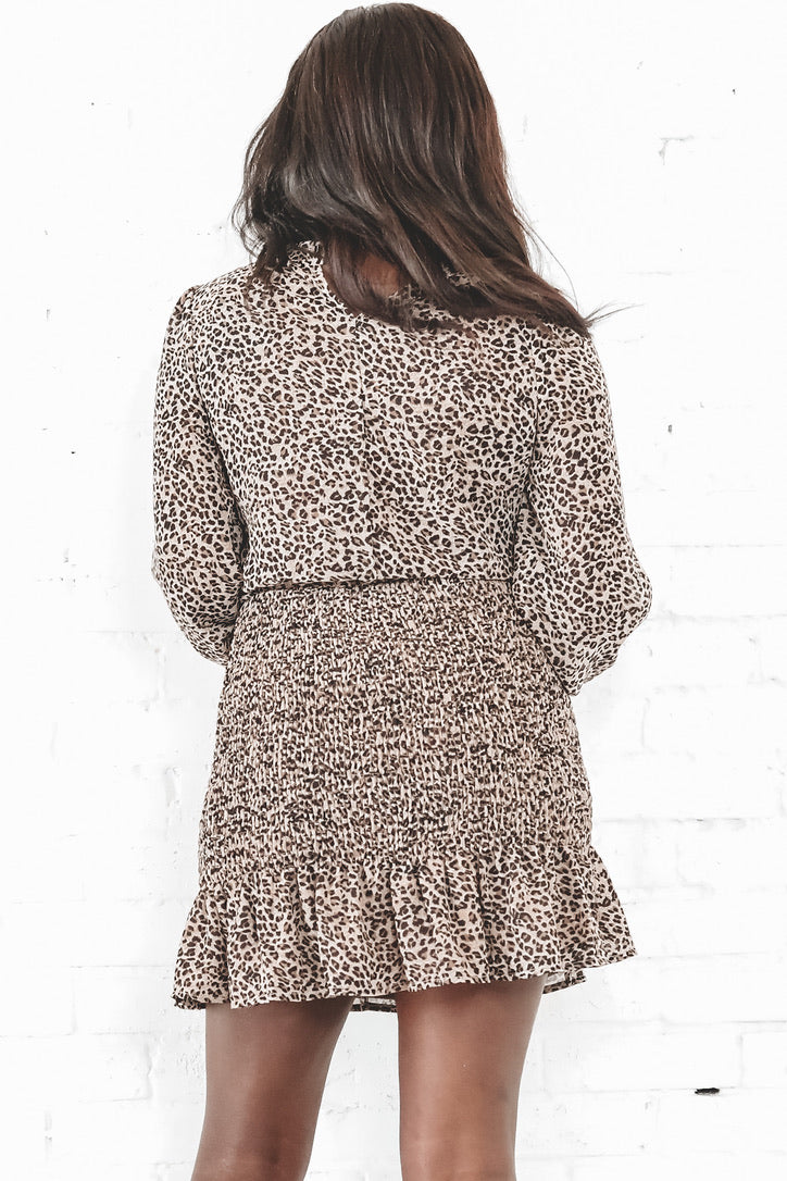 Sister Sister Cheetah Print Smocked Dress