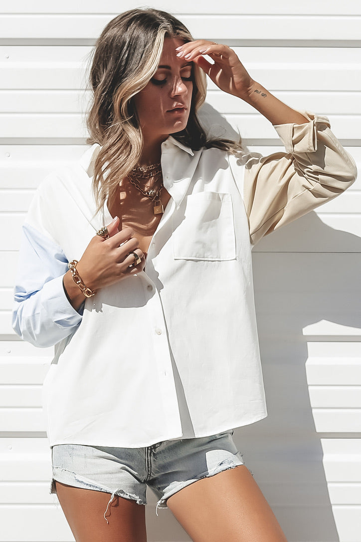 Keep Up Color Block Button Up Top