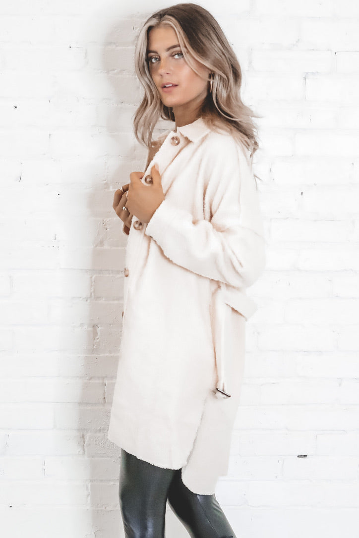 Uh Huh Honey Cream Button Up Cardigan Jacket