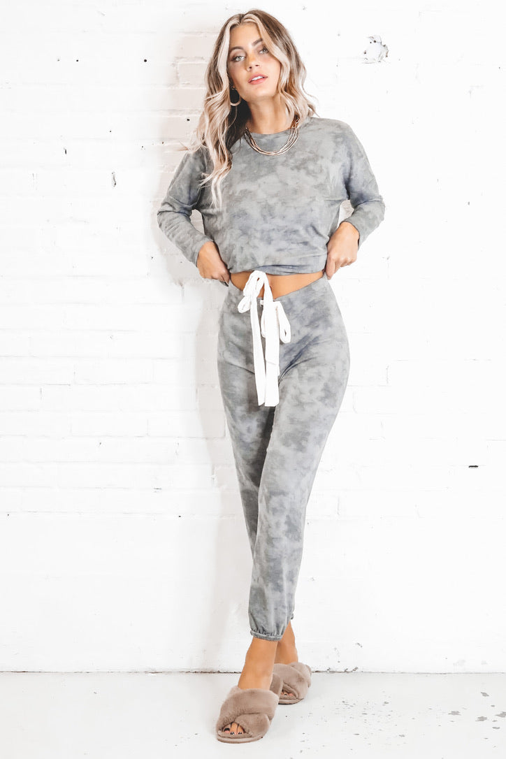 Good To Know Gray Tie Dye Joggers
