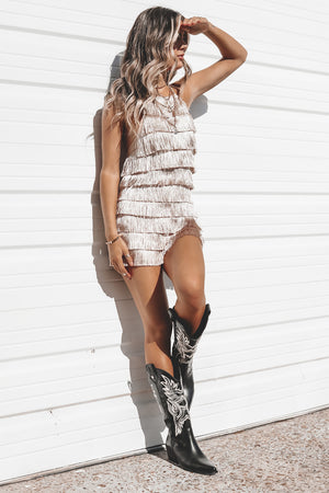 What She Wants Tonight Champagne Fringe Romper