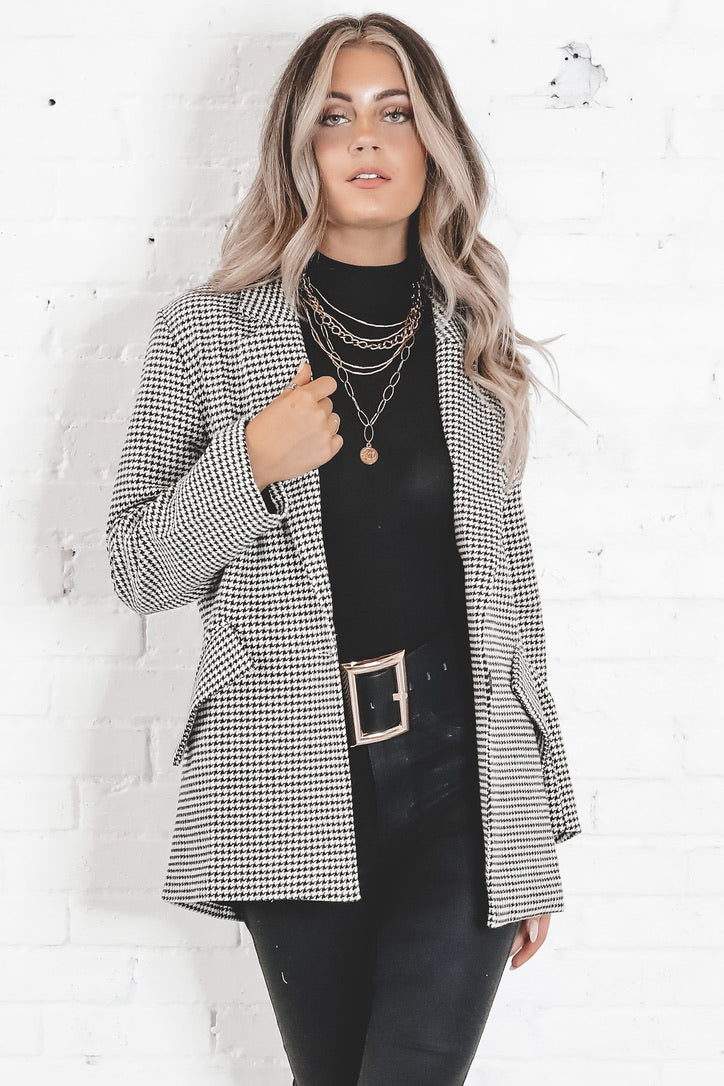 Make You Miss Me Houndstooth Blazer
