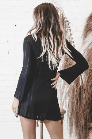 Kinda Into It Long Sleeve Black Dress
