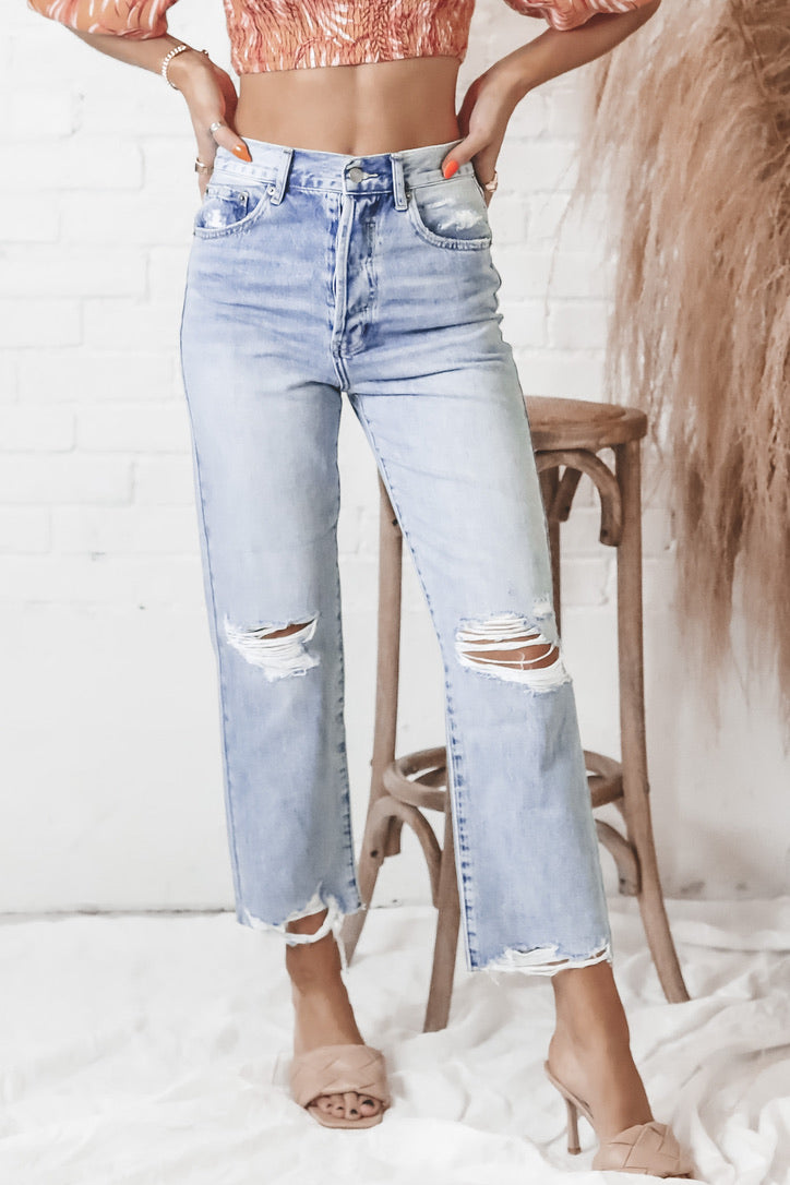 PISTOLA Cassie Super High Rise Straight Crop Jeans