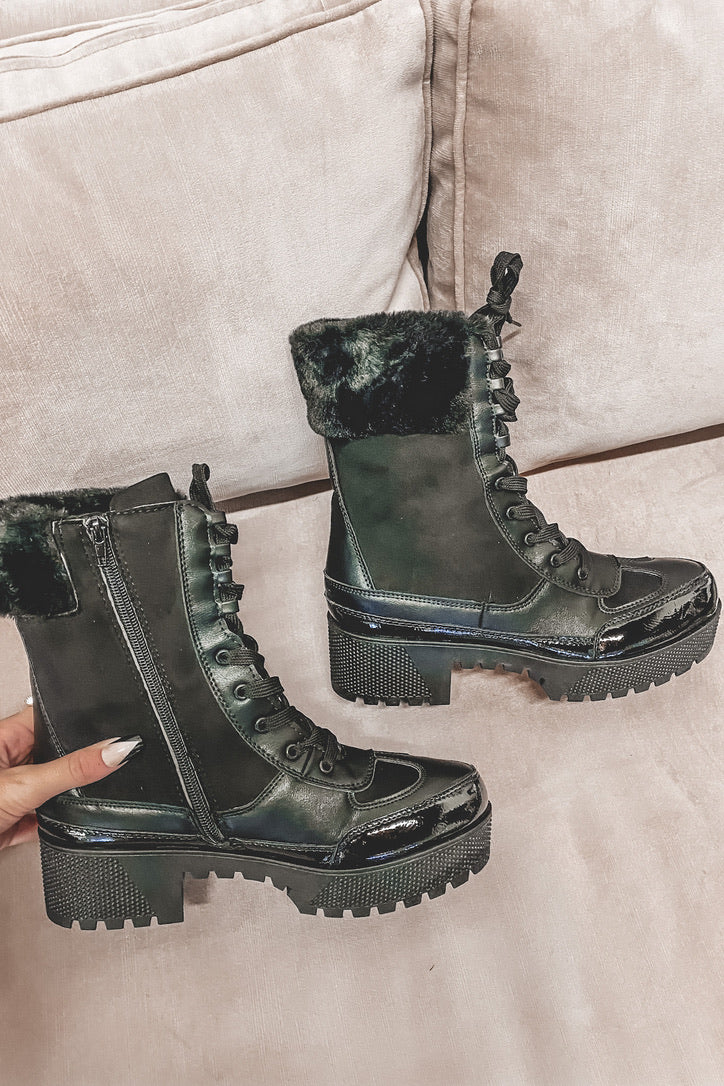Leave You In The Dust Black Platform Boots