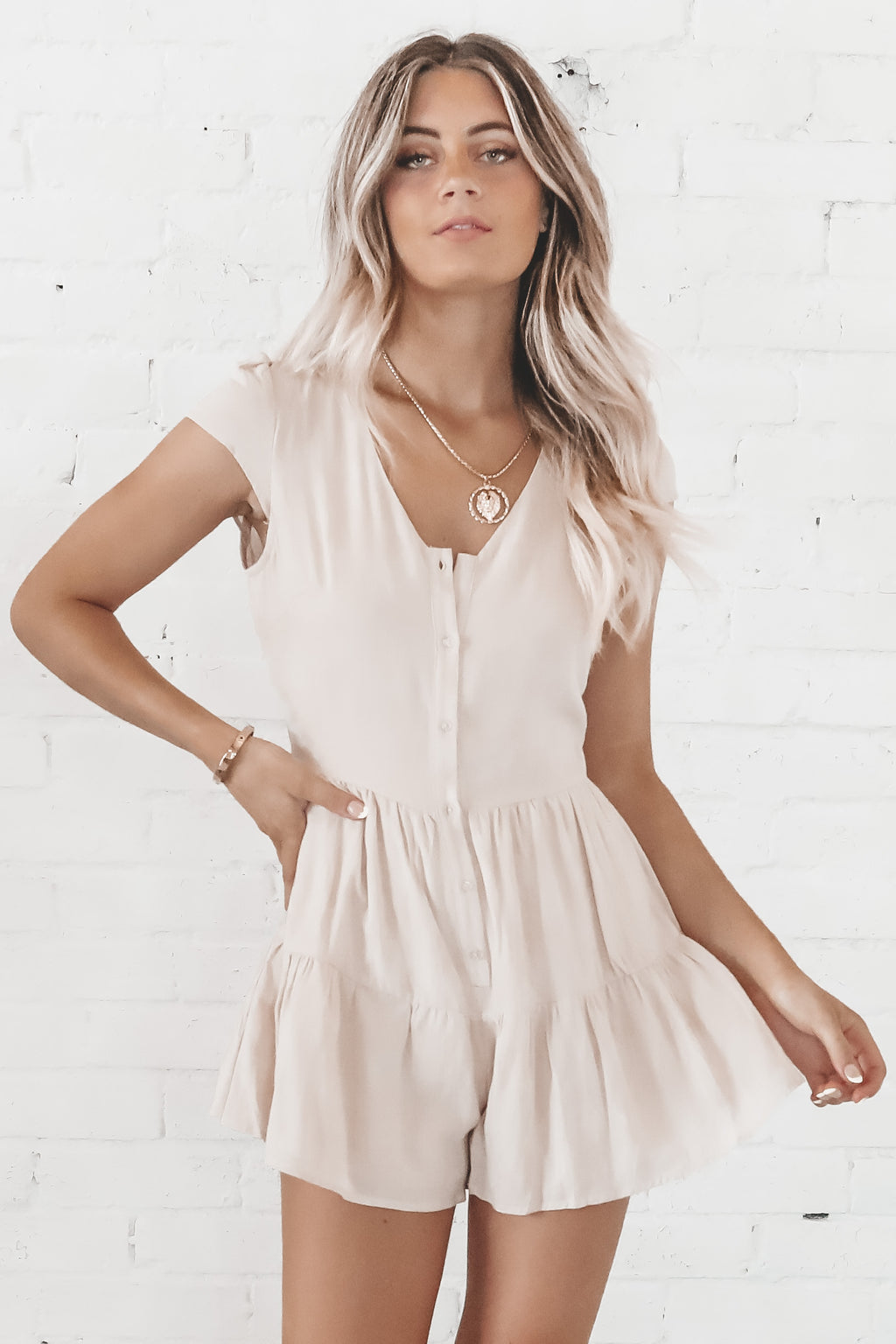 Mocha Latte Button Down Romper