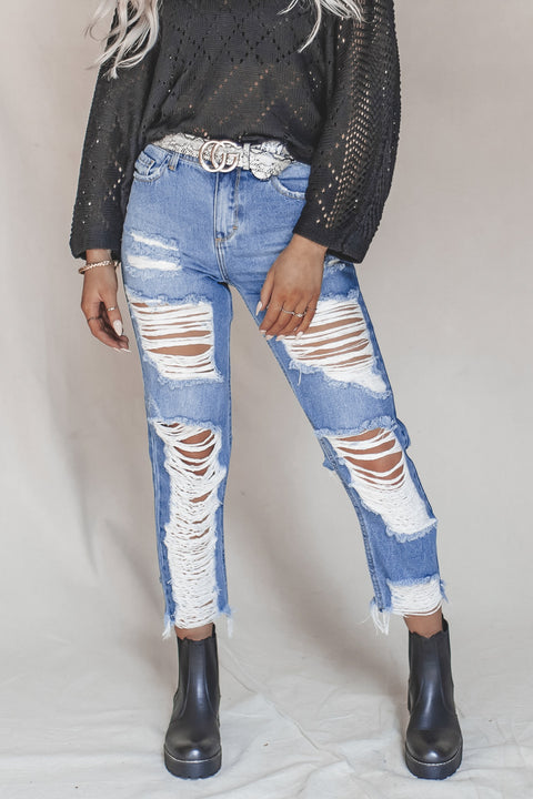 Double Trouble High Rise Distressed Ripped Jeans