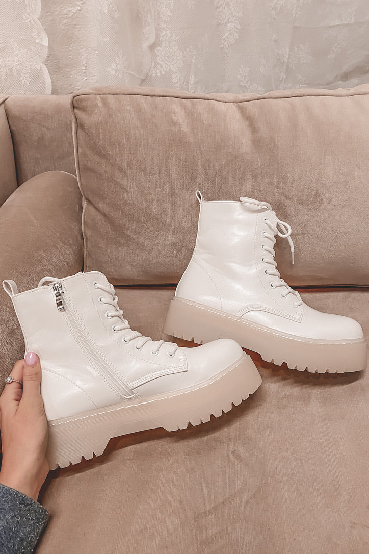 Out West White Lace Up Boots