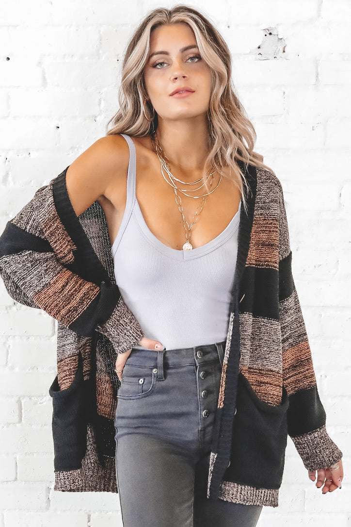Seasons Change Black Oversized Cardigan