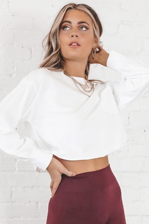 Run This Way White Long Sleeve Crop Top