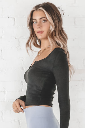 Hangin' Out Black Long Sleeve Top