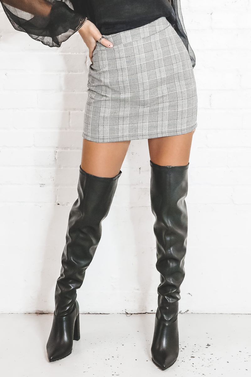 Fashionably Late Plaid Mini Skirt