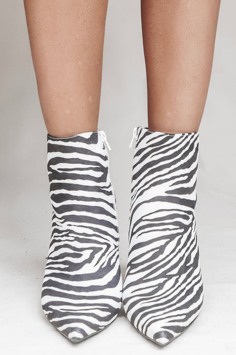 What's Your Point Zebra & Leopard Print Bootie