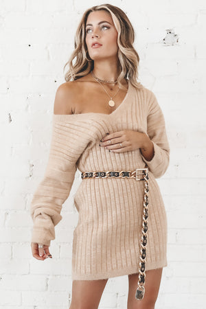Destined To Be Dijon Long Sleeve Ribbed Dress