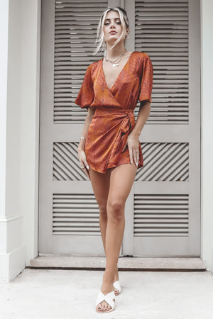 All Wrapped Up Satin Wrap Romper