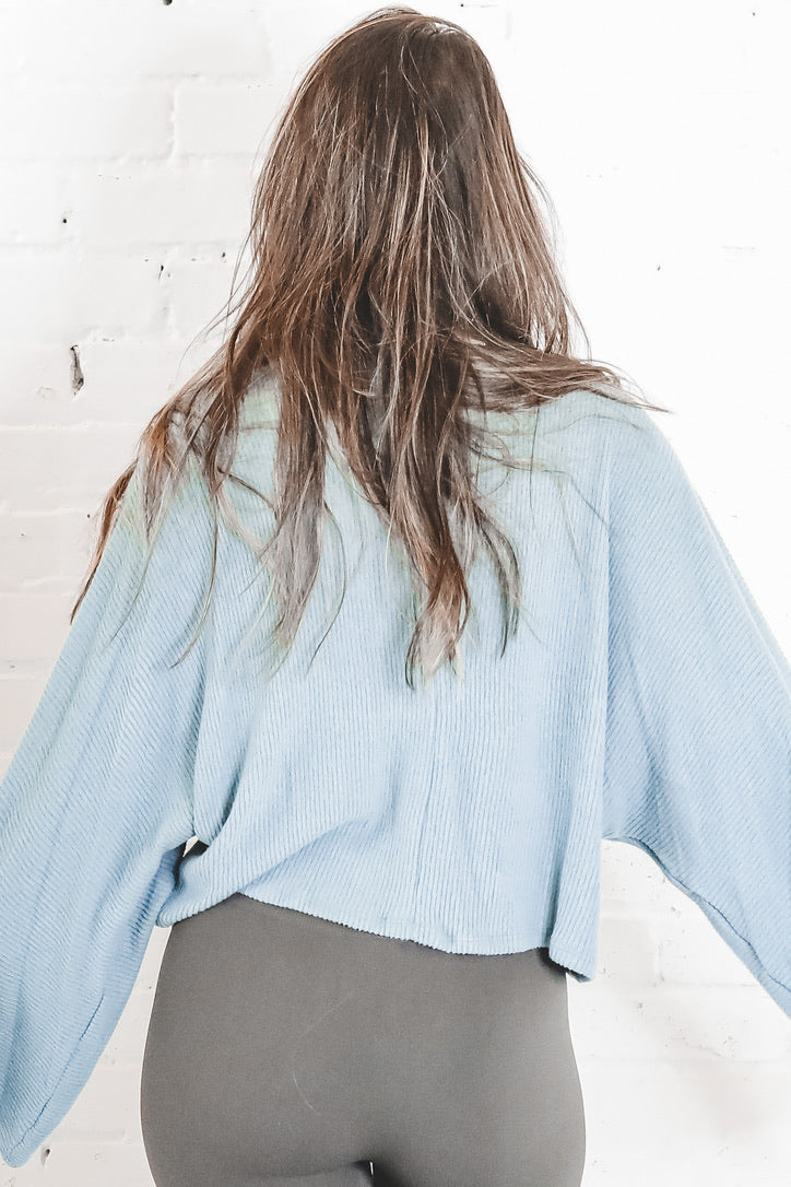 Too Shy Teal Wide Sleeve Top