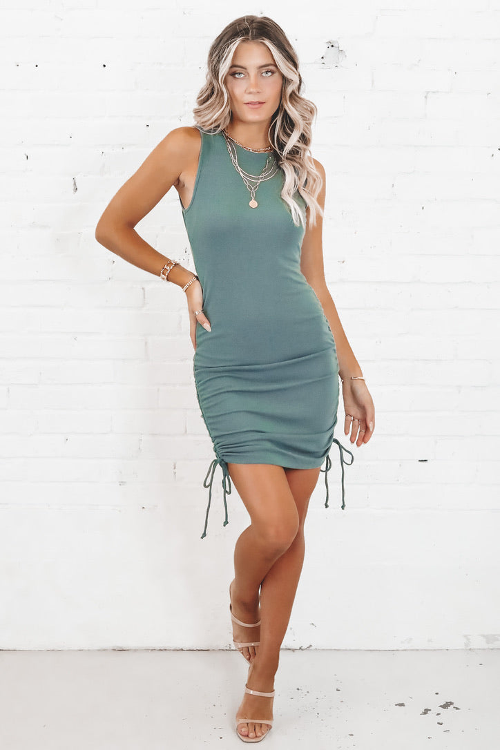 In Your Dreams Teal Green Ruched Dress
