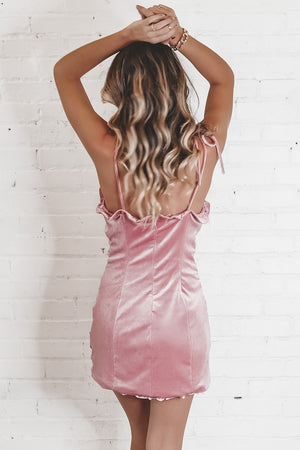 Holiday Vacation Pink Velvet Ruching Dress