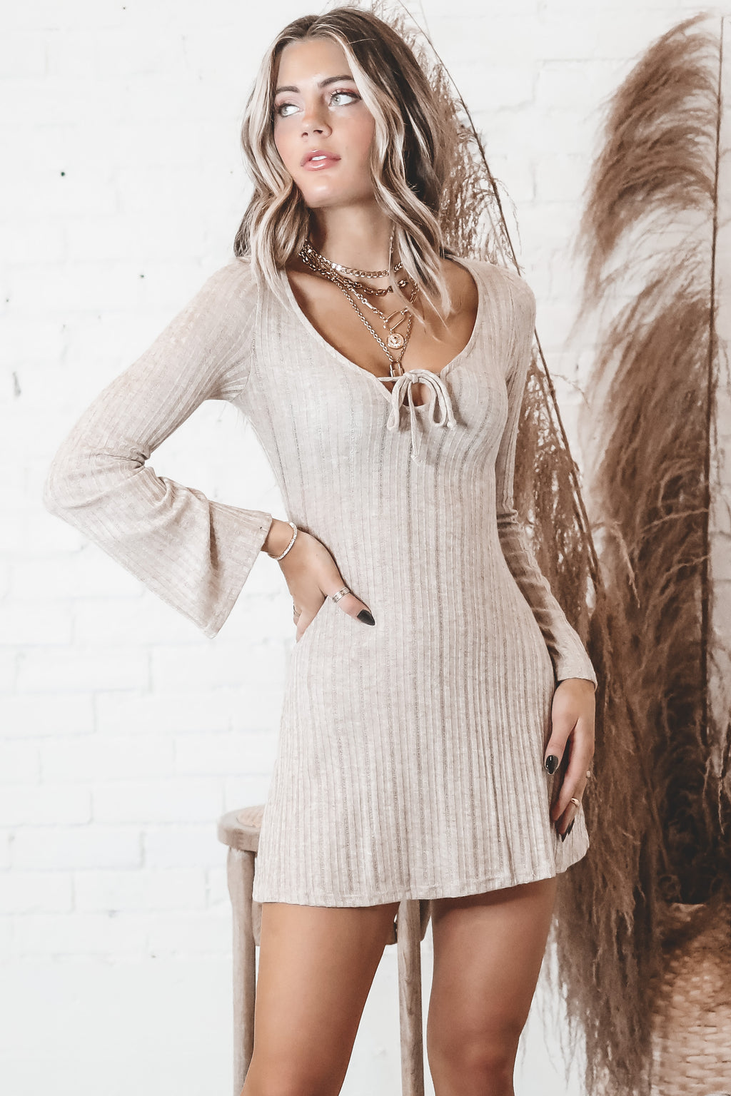 Kinda Into It Long Sleeve Taupe Dress