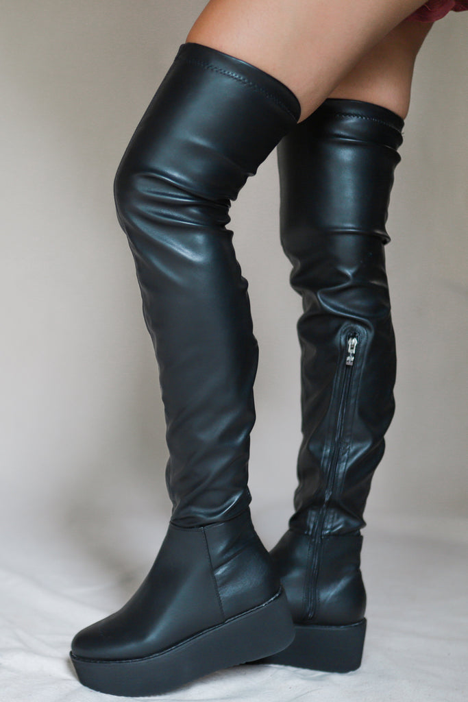 Friday Feels Black Leather Boots
