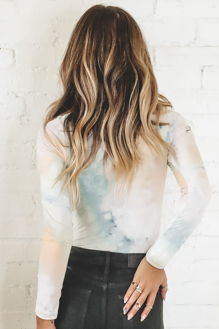 The Thrill Of It Taupe Sage Tie Dye Bodysuit